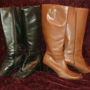 """2 pair of womens leather 3"""" heel walking boots"""